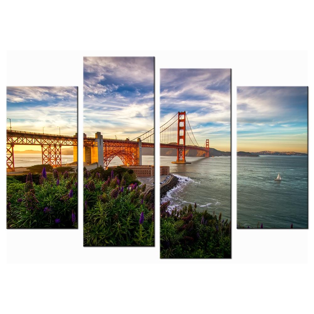 Golden Gate Bridge San Francisco California Sunset Picture: Wall Decor Canvas Painting San Francisco Golden Gate