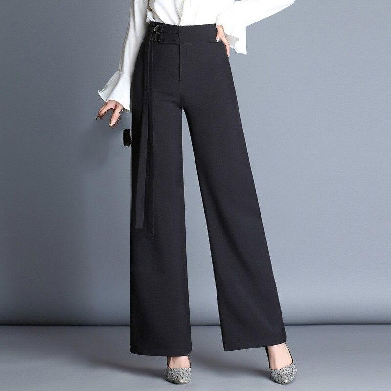 Women's trousers straight trousers double waist pants temperament commute wide leg pants
