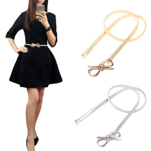 Metal Bow Clasp Front Stretch Elastic Waist Dress Belt