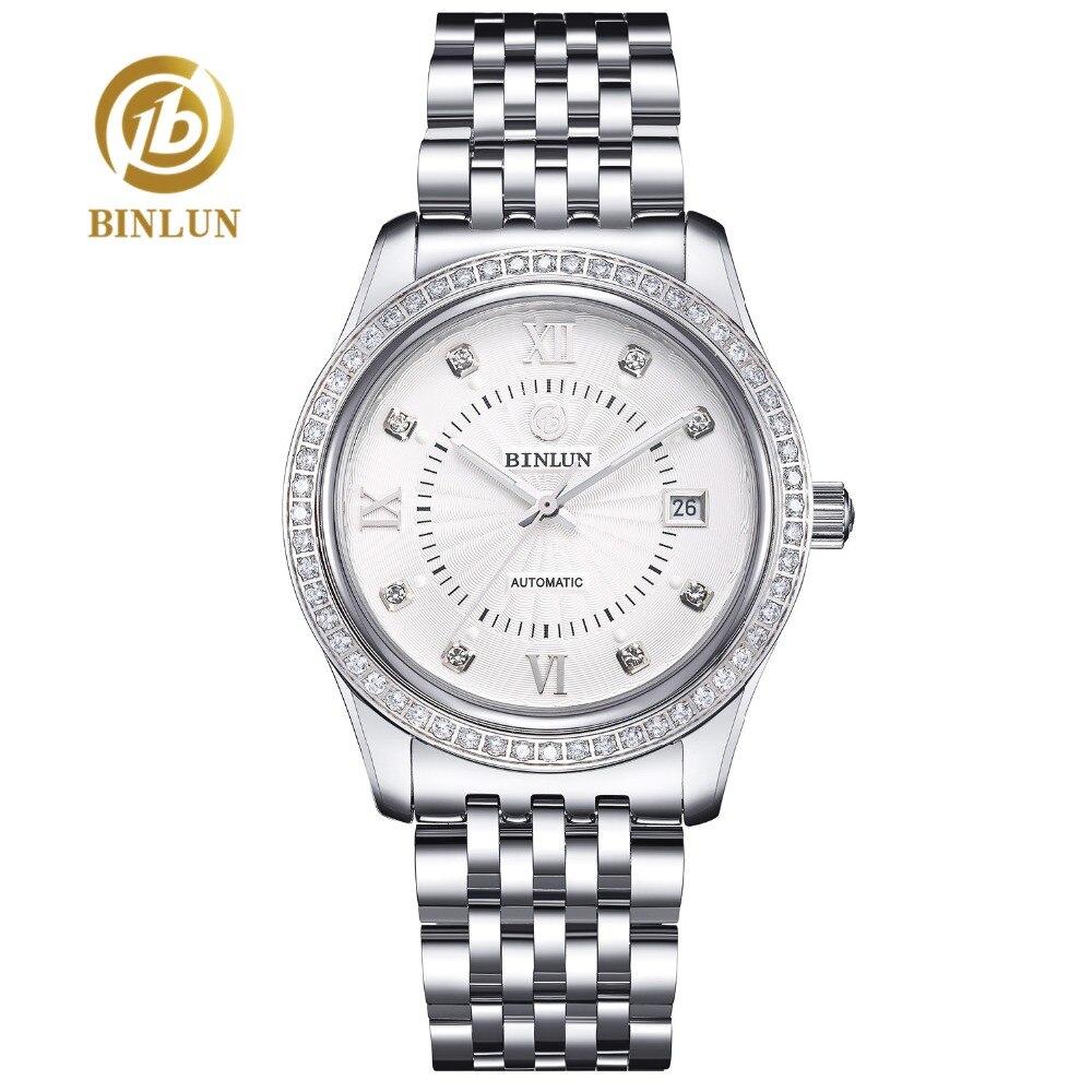 BINLUN Automatic Watch 2018 New Silver Diamond Dial Men's Watch Luxury Sapphire Glass Waterproof Wrist Watch Men Automatic Clock цена в Москве и Питере