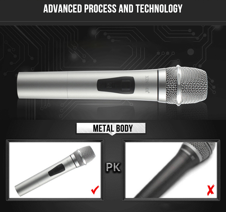 XINGMA PC-K3 Wireless Microphone Professional Dynamic VHF Metal Handheld Mic With Receiver For Karaoke Computer Singing KTV 1