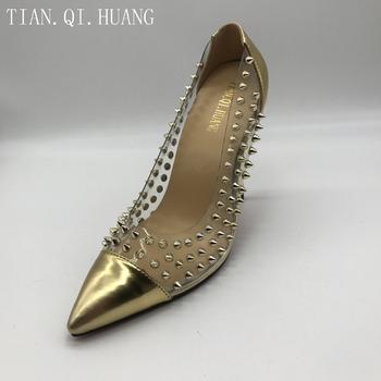 2017 Hot sprzedaży kobiety prawdziwej skóry nity obcasy buty mody wysokiej jakości Sexy pompy wysokie obcasy buty tanie i dobre opinie WOMEN 2017231212 podstawowe moda Szpilki Dobrze pasuje do rozmiaru wybierz swój normalny rozmiar TIAN QI HUANG Wsuwane