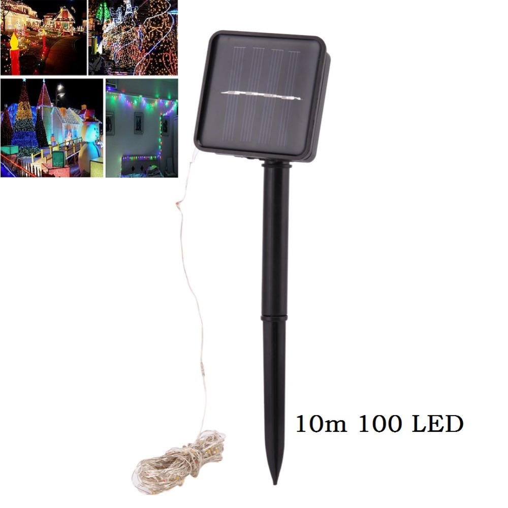 10m 100 LED Solar Lamps Copper Wire Fairy String Patio Lights Waterproof Garden Christmas Wedding Party Outdoor Decoration