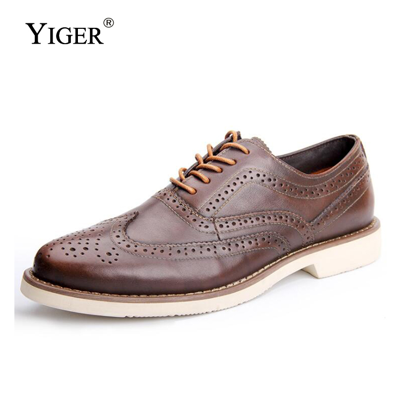 YIGER New Men Bullock Shoes Genuine Leather Man Dress Shoes Lace-up male Business shoes Spring/Autumn Men Wedding shoes    0170YIGER New Men Bullock Shoes Genuine Leather Man Dress Shoes Lace-up male Business shoes Spring/Autumn Men Wedding shoes    0170