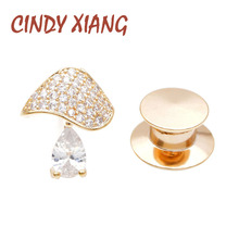CINDY XIANG New Arrival Cubic Zirconia Mushroom Collar Pins Unisex Women And Men Brooch Small Tiny Copper Jewelry Shining