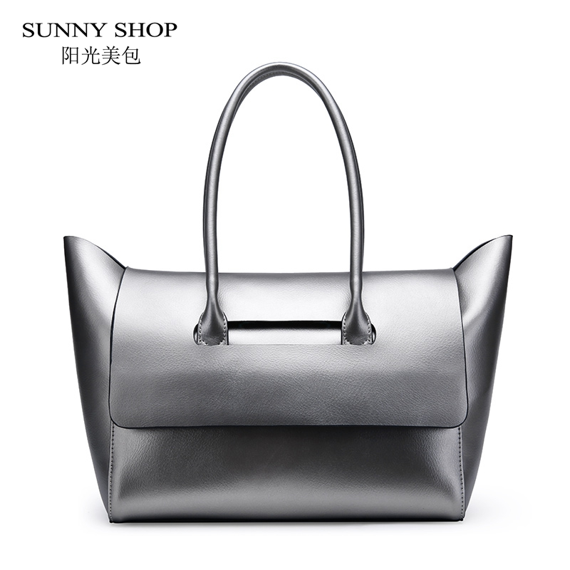 SUNNY SHOP Brand Designer Genuine Leather Women Bag Cowhide Luxury Shoulder Bags For Ladies Fashion Business Work Handbags luxury genuine leather bag fashion brand designer women handbag cowhide leather shoulder composite bag casual totes