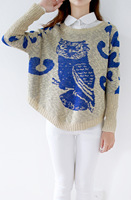 2015 new winter Sweaters bat shirt loose big yards female owl jacquard knit sweater women Pullover