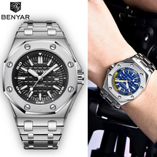 BENYAR 2019 New Mens Watches Business Chronograph/Waterproof/Sport Watch Men Stainless Steel Wristwatch Relogio Masculino