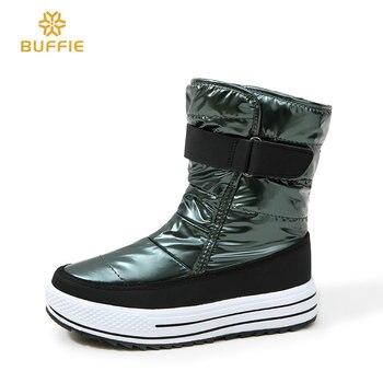 Женская обувь, новый стиль 2018, модные осенне-зимние сапоги, теплые зимние сапоги, Блестящий верх, меховая подкладка, нескользящая подошва, Ро...