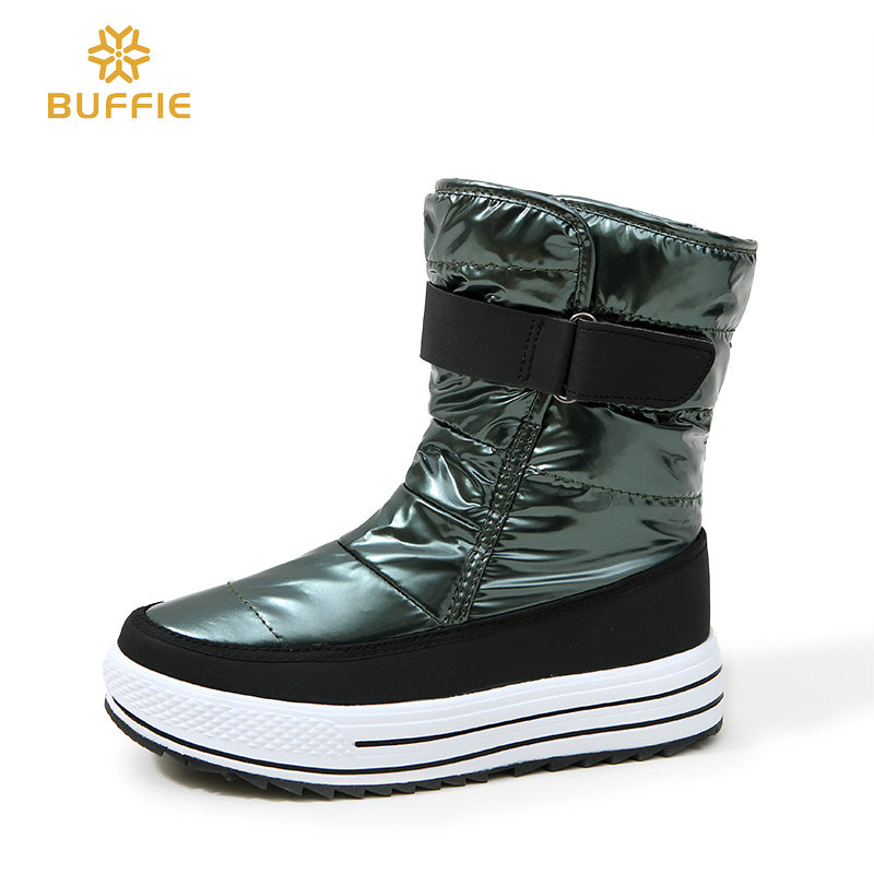 Women shoes new style 2018 fashion autumn winter boots warm snow boots shiny upper fur lining non slip outsole Russia big size