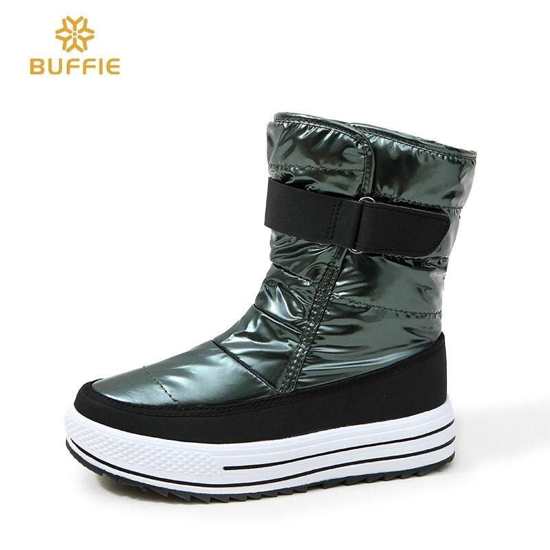 Zapatos de las mujeres nuevo estilo 2018 moda Otoño Invierno botas de nieve caliente brillante superior forro de piel suela antideslizante rusia gran tamaño