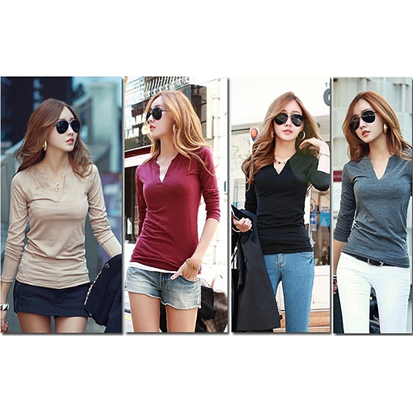 HTB1q4y5FKySBuNjy1zdq6xPxFXam - Women Korean t shirt Basic V Neck Long Sleeve Fitted Plain Top Solid Stretch Shirt
