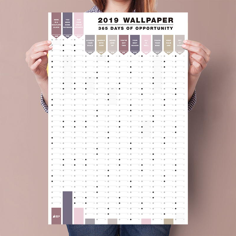 2 unids/set 365 días calendario de pared 2019 2020 papel calendario anual planificador día Agenda Año nuevo planificador estudiante regalo