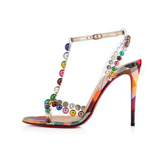 Big Size 34-45 NEW 2019 Summer Colorful Bead PVC T-Strap Women High Heels Top Quality Genuine Leather Dress Sandals