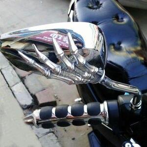 Image 1 - 1 paar Motorrad Schädel Hand Rearveiw Spiegel Für Honda Suzuki Kawasaki KTM/Schatten Geist VT750 VT1100 VL 700 750 800 1400 1500
