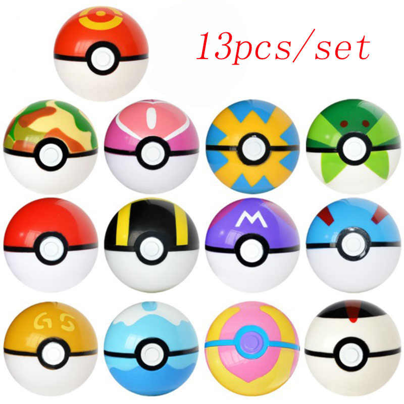 13 Pcs/set Multicolor Pokeball Set Pokebolas Poke Action Figure Tokoh Permainan Bola