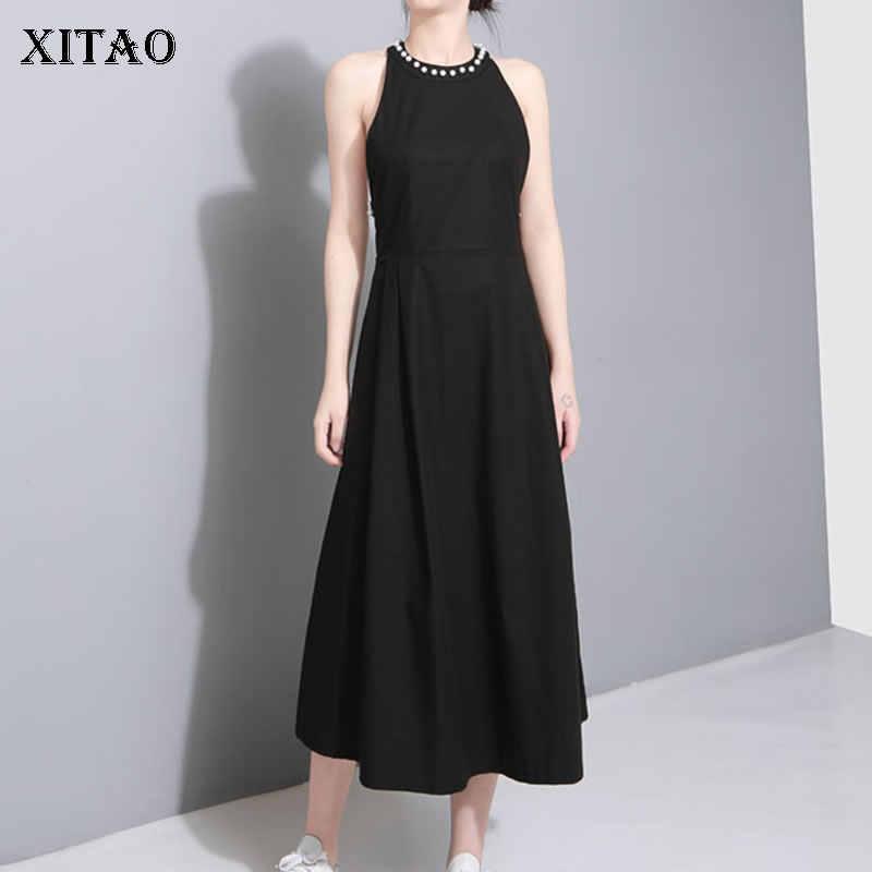 XITAO, платье миди с открытыми плечами и бусинами, сексуальное платье с открытой спиной, однотонная одежда без рукавов, женская одежда, 2019, облегающее, свободное, LY1096