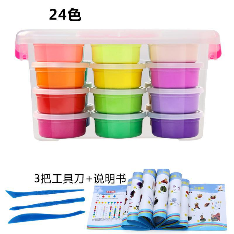 24 Colors Slime Fluffy Toys With 3 Play Dough Tools Super Light Clay Colorful Plasticine Educational Soft Play Dough Toy Gift