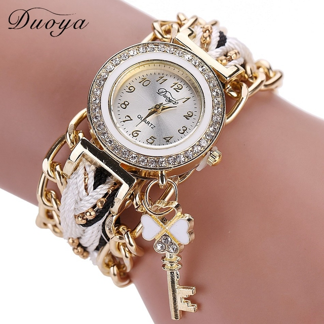Fashion Brand Duoya Watches Women Casual Braided Analog Quartz Rhinestone Watch