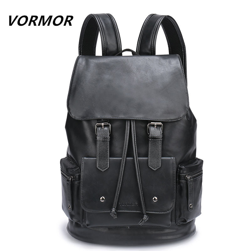 Waterproof Large Capacity 14 Inch Laptop Backpack Male Leather Backpack Bag Men School Bags Mochila Masculina Black/Brown lielang men pu leather backpack waterproof large capacity 14 inch laptop bag usb charge camouflage backpack bag mochila rucksack