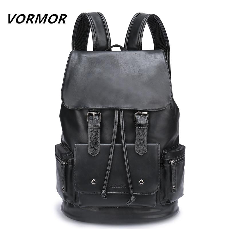 Waterproof Large Capacity 14 Inch Laptop Backpack Male Leather Backpack Bag Men School Bags Mochila Masculina Black/Brown
