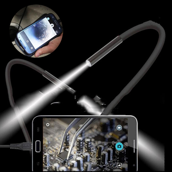 2M 7mm HD 1.3MP PC/Android OTG Phone Endoscope Waterproof Borescope Micro USB Inspection Tube Endoscope Video Camera Hard Cable
