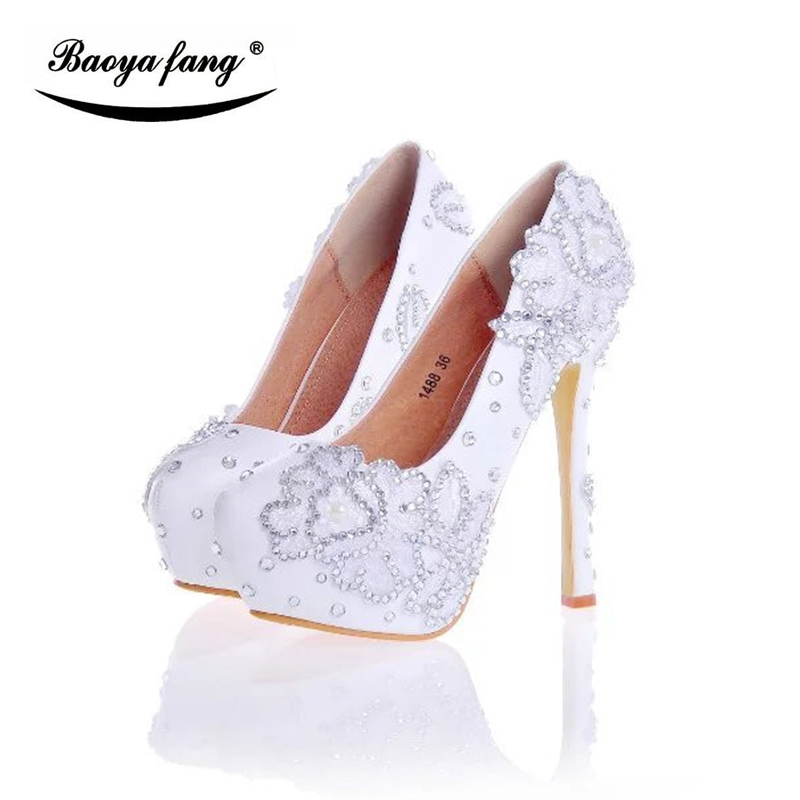 14cm Thin heel Women Wedding shoes Bride Party dress shoes high heels Woman shoes white flower real leather insole shoes baoyafang white luxury crystal womens wedding shoes bride lace thin heel high heels party dress shoes woman female shoes