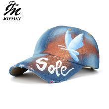 JOYMAY 2018 nueva llegada único mariposa pintura Jean gorra de béisbol  ajustable de Hip Hop gorra 3dcad2b9e8c