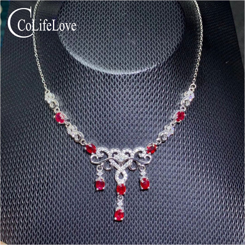 CoLife Jewelry Elegant Ruby Necklace for Wedding 100 Real Natural Ruby Silver Necklace Sterling Silver Ruby