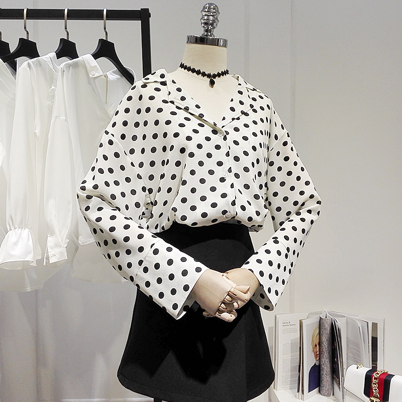 New design high quality blouse shirt woman casual polka dot chiffon shirt for 47.5-65kg femme