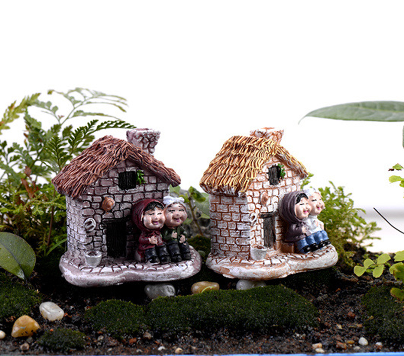 2pcs cottages house figurine nain de jardin terrarium for Figurine decoration jardin