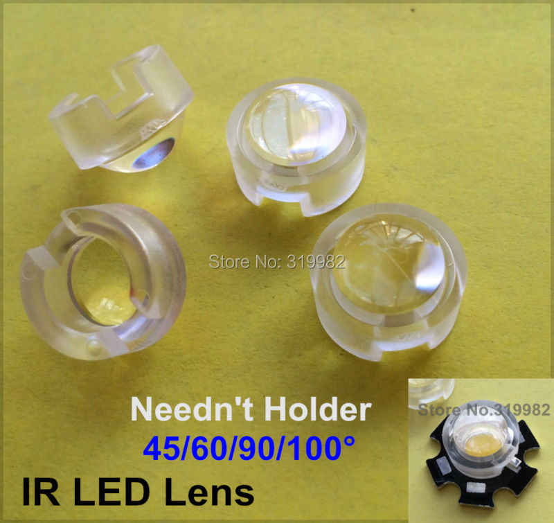 20 pcs/lot 13mm LED mini Lens 15 30 45 60 90 100 Angle Needn't Holder 1W 3W Synthetical IR LED PCB Lenses Reflector Collimator
