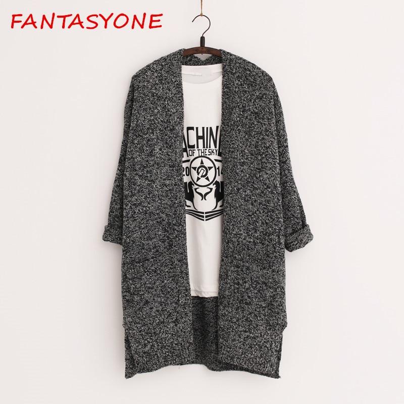 FANTASYONE 3 Colors 2017 Fashion Women Loose Sweater Long Sleeves Lady Knit Sweater Coat Warm Women