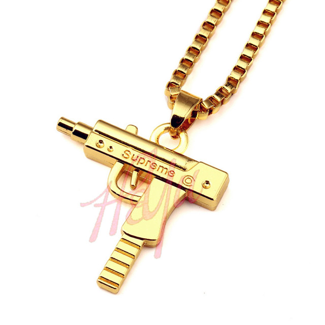 18K GOLD PLATED UZI GUN PENDANT & NECKLACE