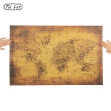 TIE LER Large Vintage Style Kraft Paper Poster Gifts Home Decoration The Old World Map Wall Sticker 72.5X51.5cm
