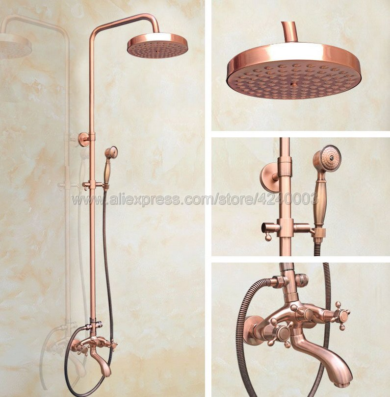 Antique Red Copper Shower Faucet Set Bath Tub Shower Mixers with Handshower 8 Rain Showerhead Krg502