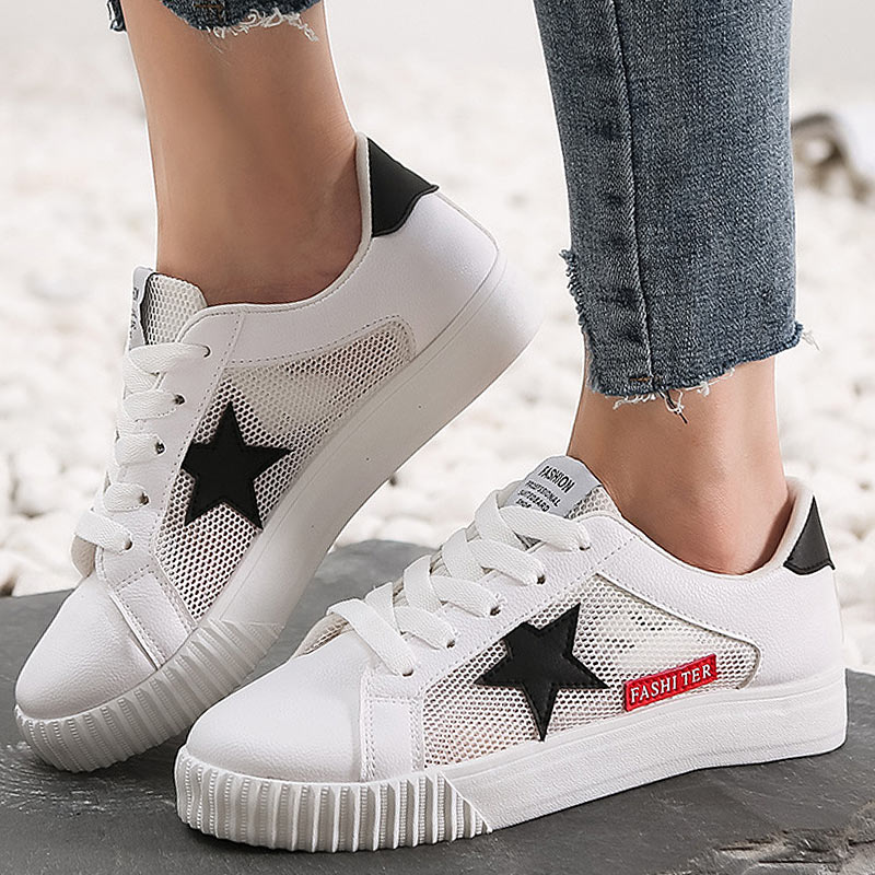 Leather Sneakers Women Vulcanize Shoes Summer Star White Sneakers Women Trainers Classic Female Casual Shoes Tenis Feminino women shoes super light women sneakers air mesh tenis feminino women couple shoes vulcanize breathable trainers white sneakers
