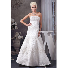 Custom Made Vestido Noiva 2017 White/Ivory Satin Embroidery Beading Strapless A-Line Wedding Dress Robe De Mariage