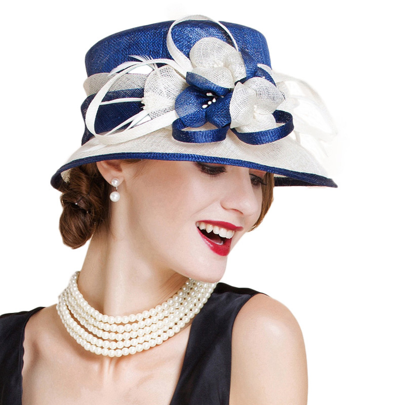 Sombrero de boda de Sinamay británico para mujer Iglesia Flor de ala ancha azul blanco Lino Fedora elegante 2018 mujeres Kentucky Derby H - 4