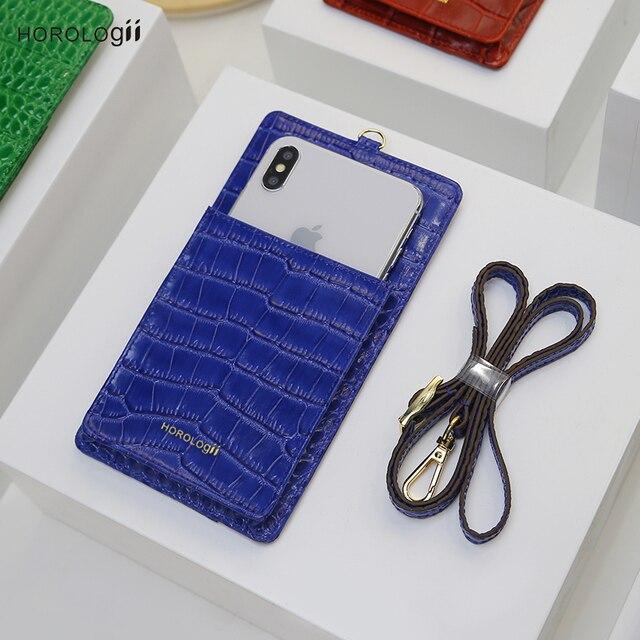 Horologi moda funda billetera telefónica teléfonos móviles ranuras para tarjetas de crédito con cordón de cuero de vaca con patrón de cocodrilo nombre personalizado