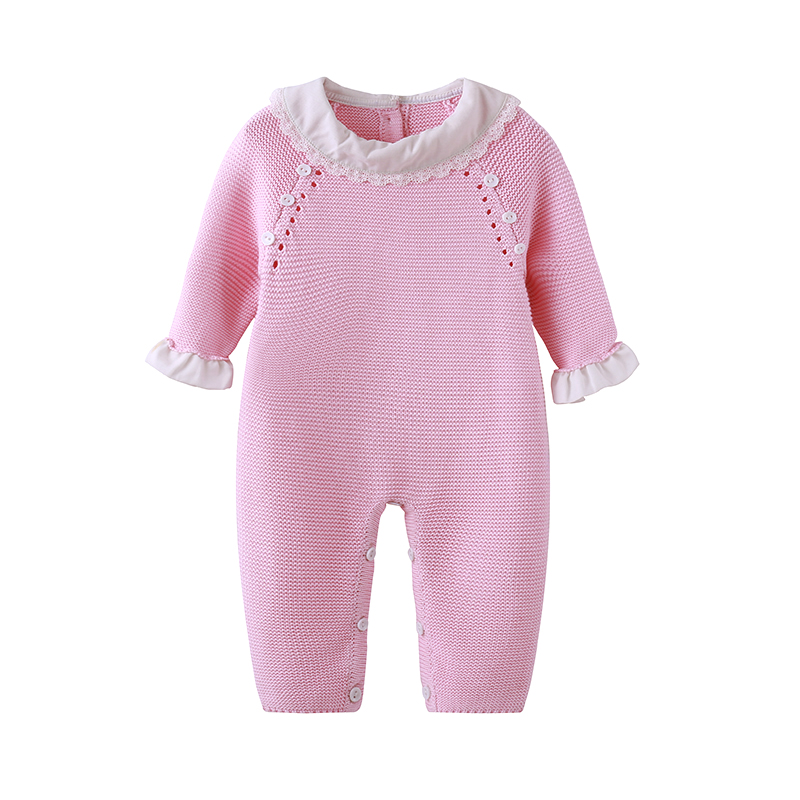 все цены на Auro Mesa Newborn Baby Girls Pink Knitting Romper Ruffled Cuff baby clothes knit baby Jumper for baby girl
