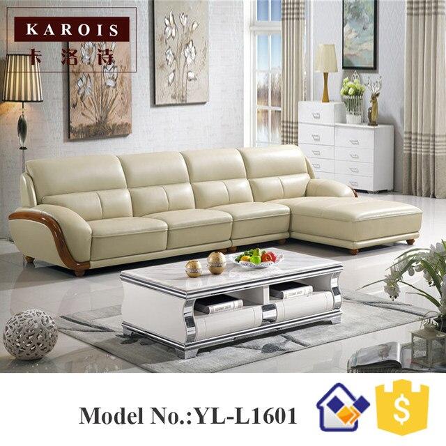 Modern Heated Top Leather Simple Design L Shape Sectional Sofa, Corner Sofa,living  Room Furniture