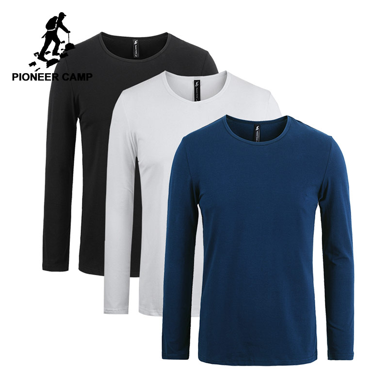 Pioneer Camp pack of 3 solid long sleeve   t     shirt   men brand clothing stretch   t  -  shirt   for men quality male Tshirt 209008