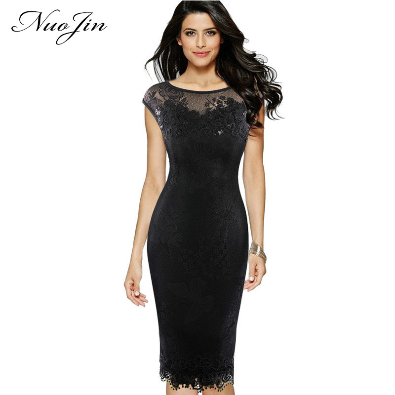 c620f1e38e59dc NuoJin Sexy Dress Women Sequins Crochet Butterfly Lace Sheath Party Evening  Bridermaid Mother of Bride Special Occasion Dresses
