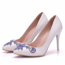 White Color Wedding Bride Dress Shoes Thin High Heel Party Prom Shoes Handmade Rhinestone Women Pumps Plus Size  XY-A0198 royal blue rhinestone bridal dress shoes super high heel wedding party prom shoes blue crystal christmas party pumps women shoes
