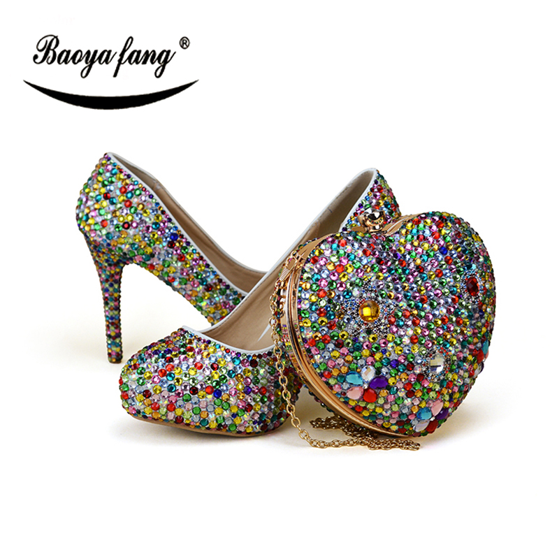 BaoYaFang Multicolored Womens wedding shoes with matching bags Luxury crystal shoe and purse sets ladies party dress shoes baoyafang red crystal womens wedding shoes with matching bags bride high heels platform shoes and purse sets woman high shoes