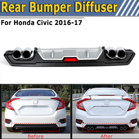 Rear Lower Bumper Diffuser Lip Cover with Dual ABS Special Outlet Pipe Exhaust Decor For Honda For Civic 2016 2017