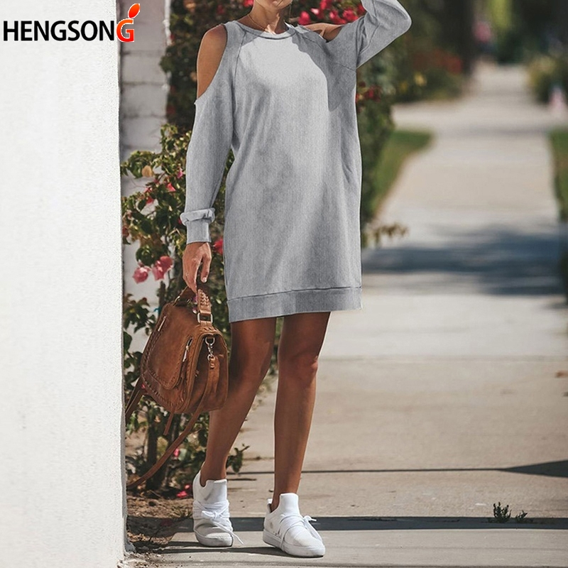 Casual Loose Women's Off Shoulder Dresses Elegant Straight Mini Dress Long Sleeve Vestidos Autumn Top
