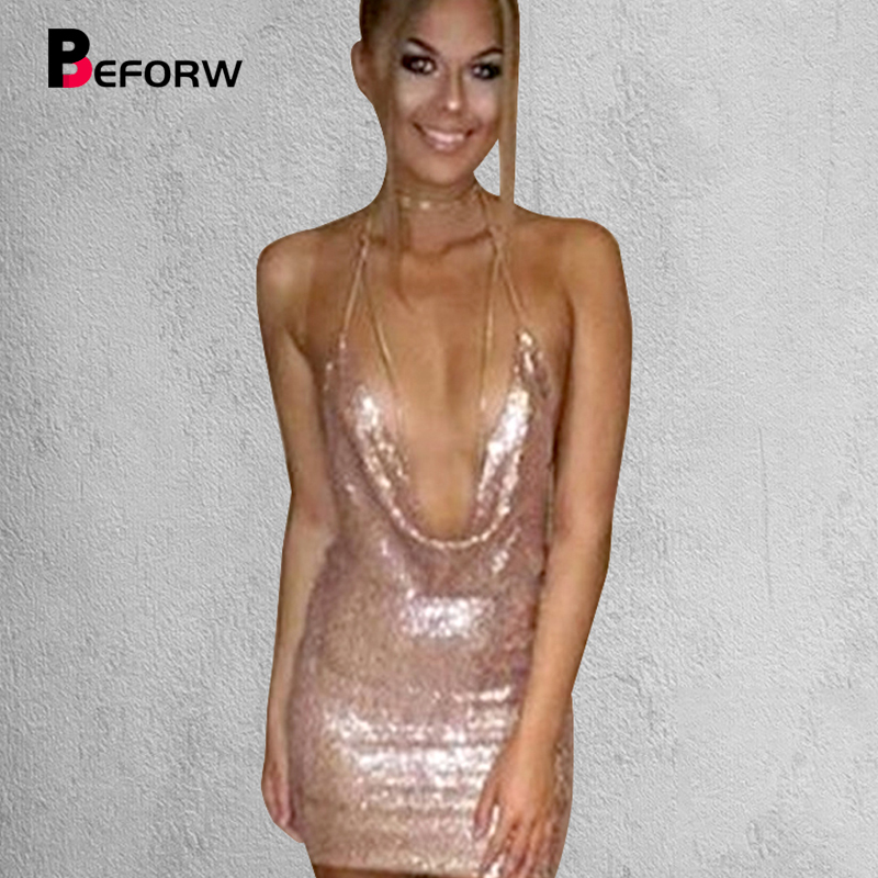 BEFORW Sequin Dress Womens Sexiga Klänningar Party Night Club Klänning Metall Diamond Chain Sling Kläder Guld Silver Super Sexy Dress