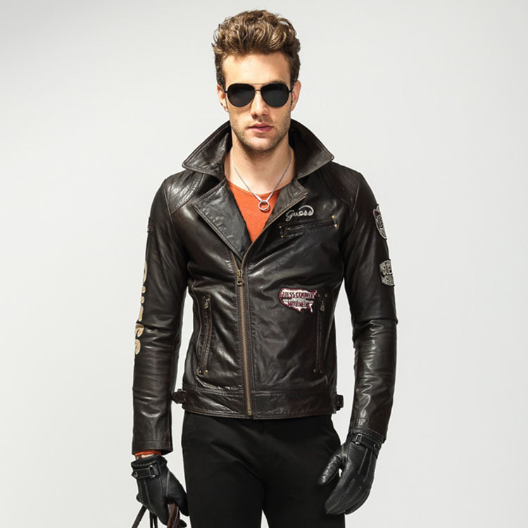 new 2015 Genuine leather jacket men, Calfskin Casual leather ...